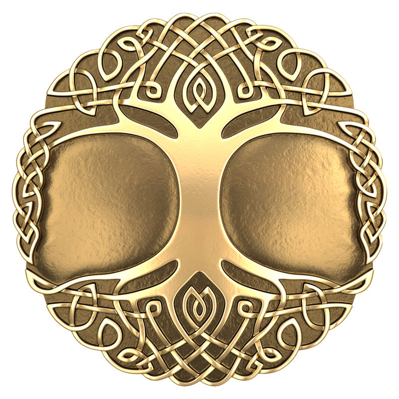 3D model. Celtic ornament. Circle. The tree of life. Bronze. Gold.