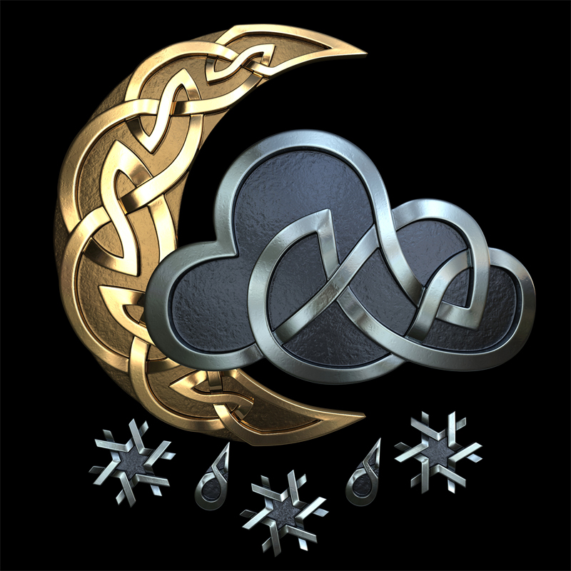 3D model. Celtic ornament. Silver. Gold. Weather. Moon. cloud. cloud. snowflakes. drops. rain