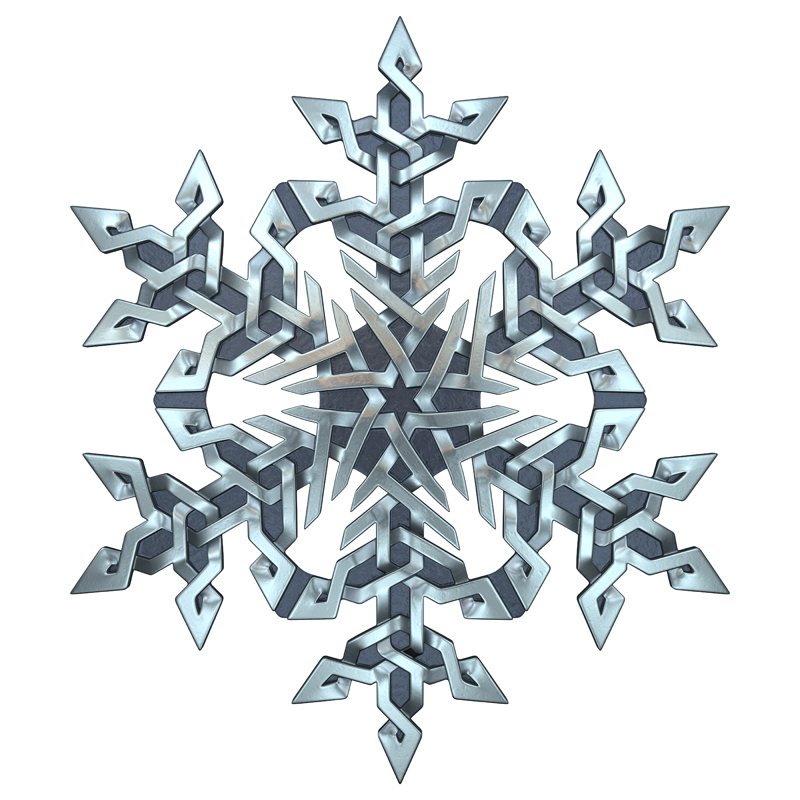 3D model. Celtic ornament. Silver. Snowflake