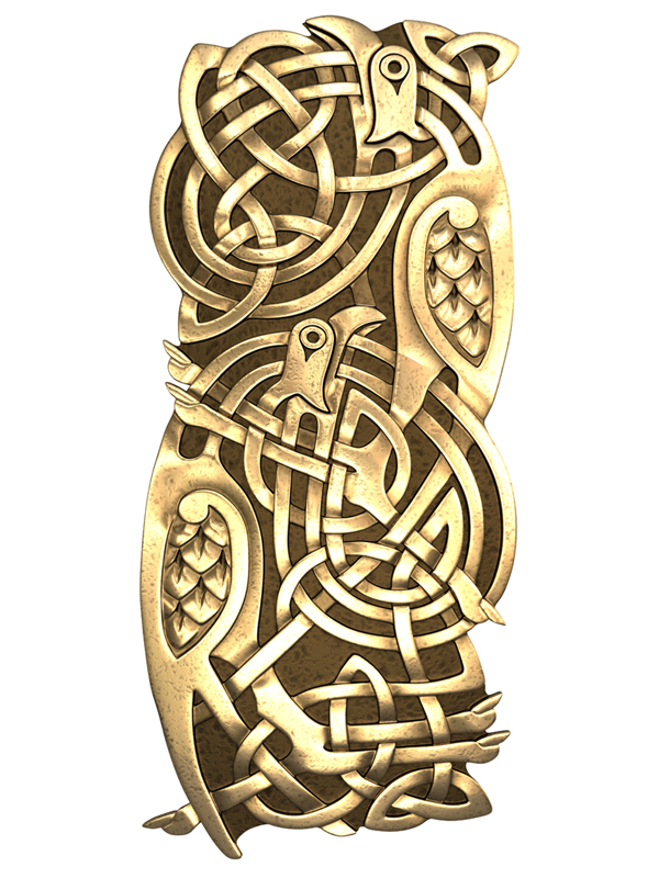 3D model. Zoomorphic Celtic ornament. Bronze. Gold. birds.
