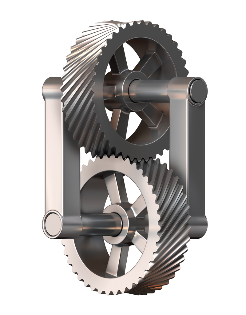 3D model. Illusion. Impossible mechanism gear.
