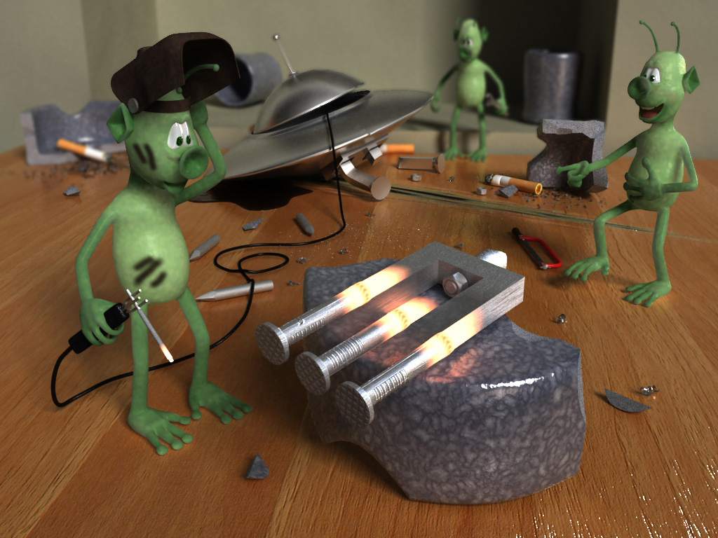 3D model. Illusion. The crash of a flying saucer with aliens