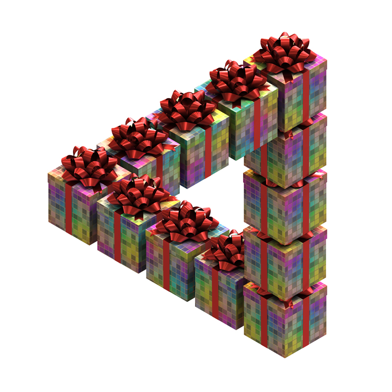 3D model. Illusion. Impossible triangle of boxes with gifts