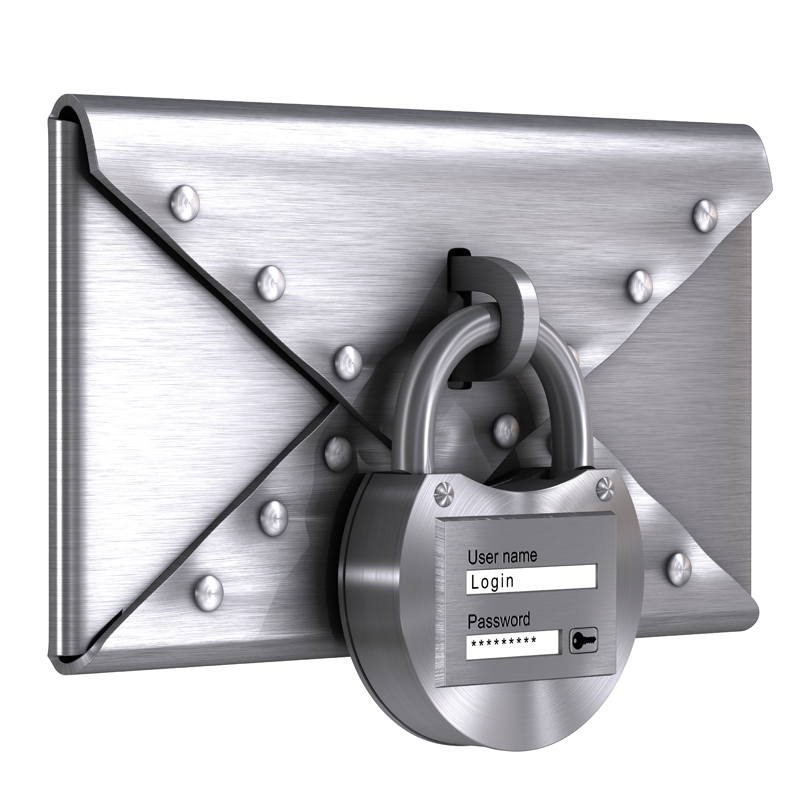 3D model. Steel envelope locked with a password