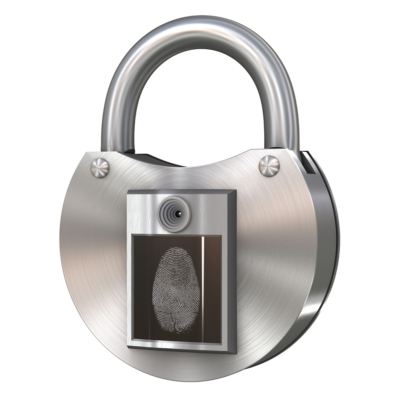 3D model. Steel lock, which is equipped with a WEB camera and fingerprint sensor