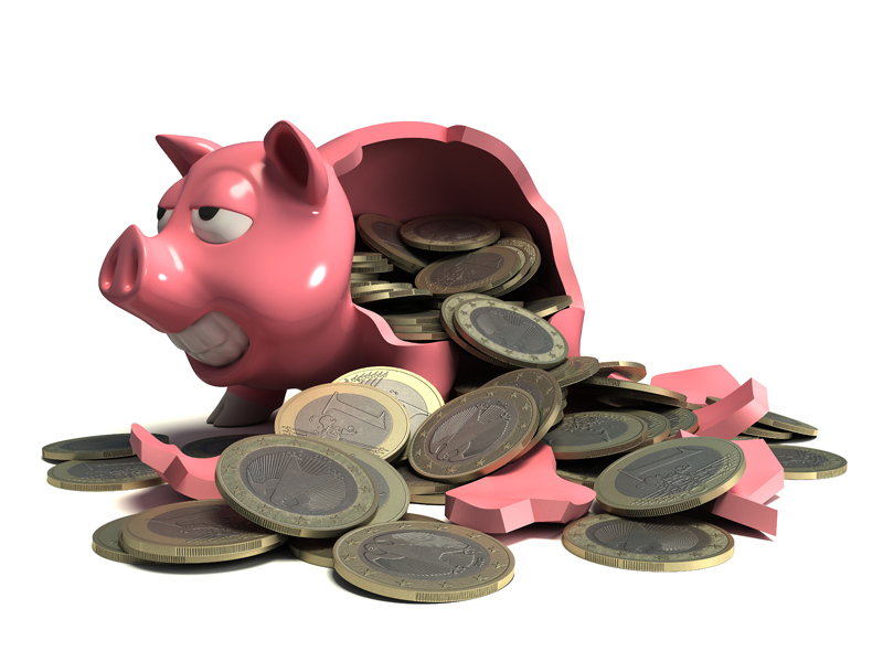 3D model. Broken piggy Bank in the form of a pig from which vyzyvaetsya Euro coins