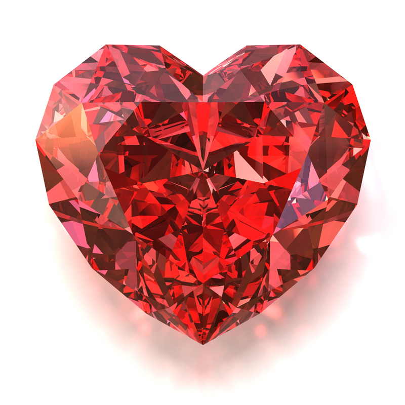 3D model. Gems. Red ruby heart