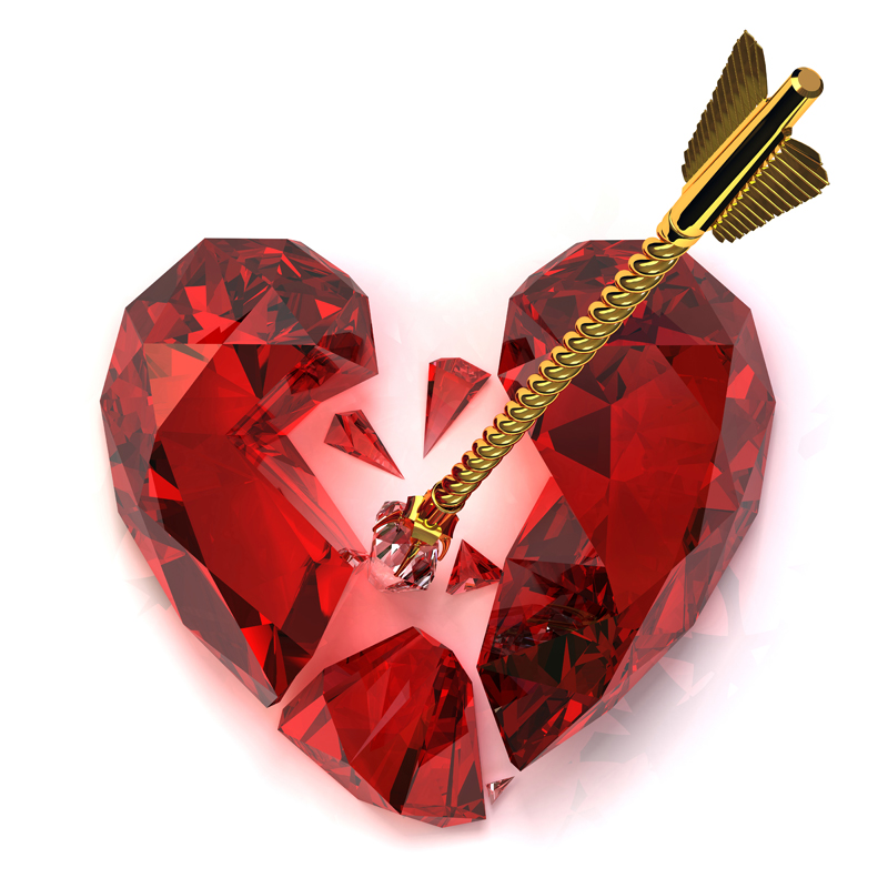 3D model. Gems. Ruby red broken heart Golden arrow