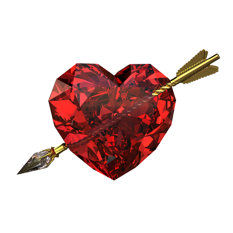 3D model. Gems. Red ruby heart struck by a Golden arrow