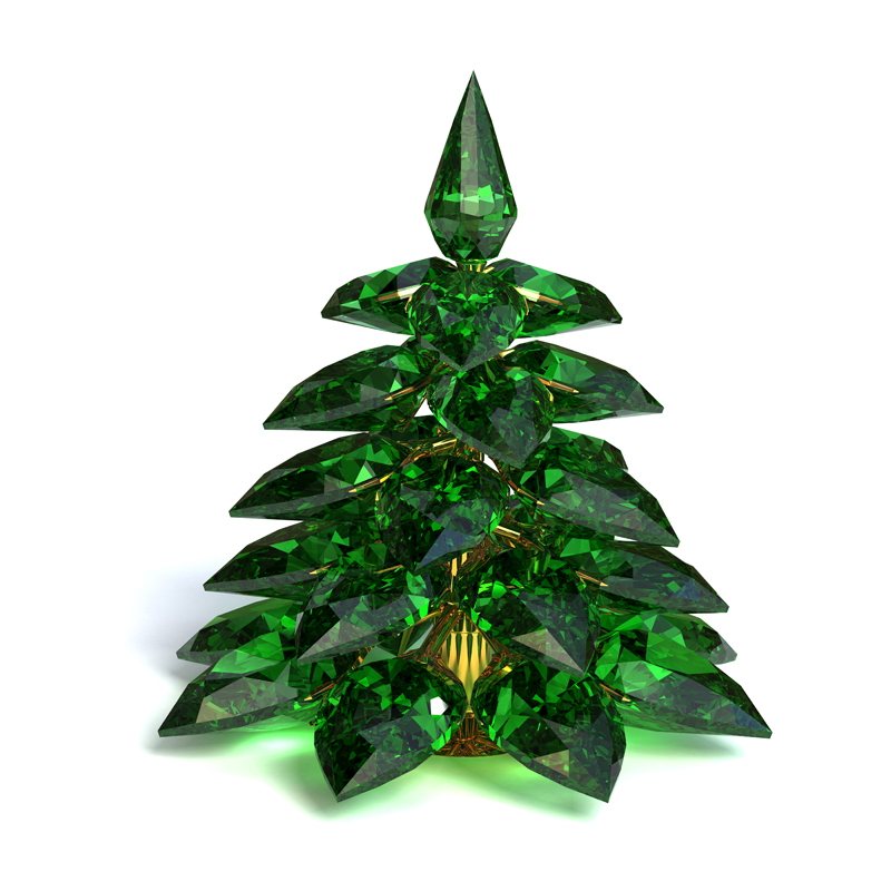 3D model. Gems. Jewelry. Christmas tree made of emeralds