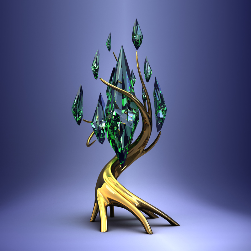 3D model. Gems. Jewelry. Golden tree with leaves of green emeralds