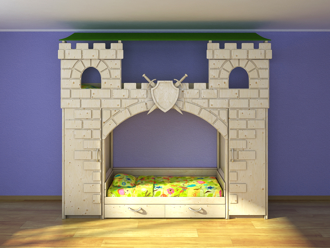 3D model of children's bunk beds are made in the form of a fortress. Ladder, wardrobe, beds, shields, swords, ladder