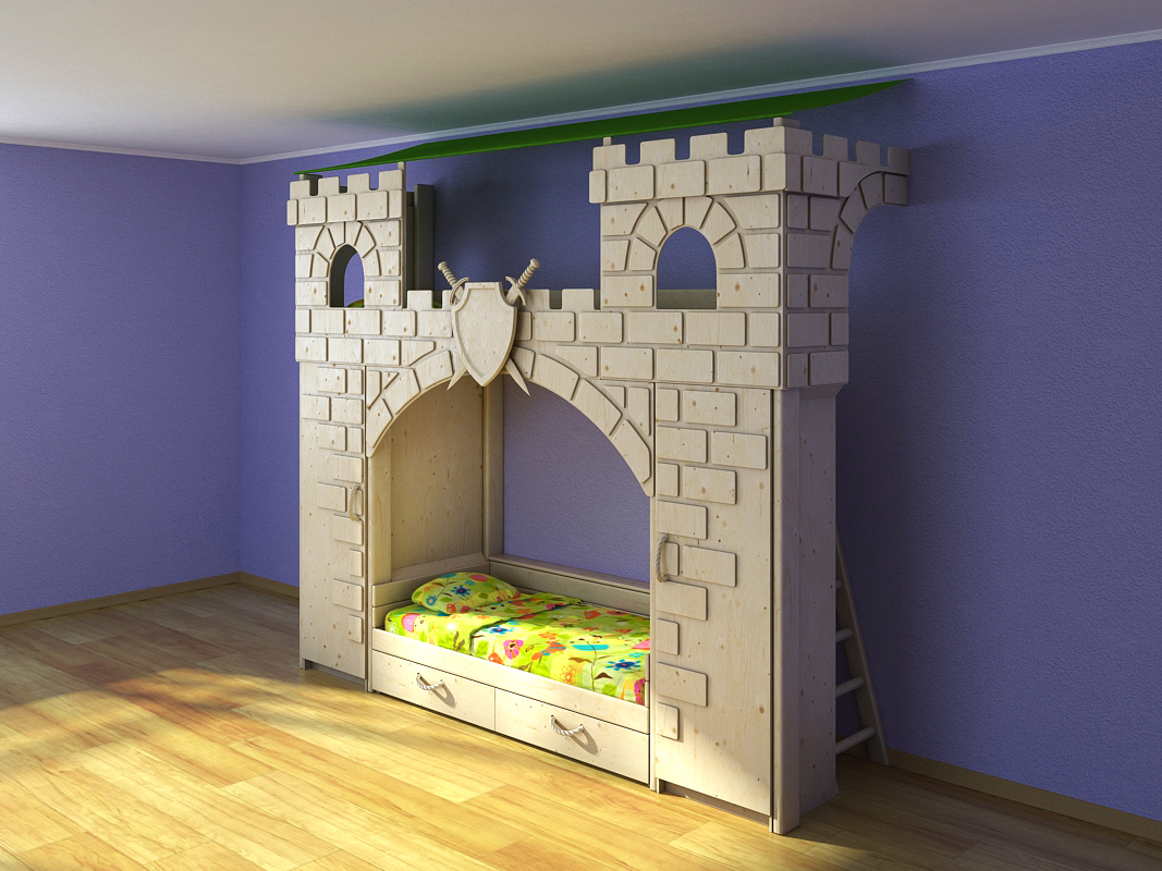 3D model of children's bunk beds are made in the form of a fortress. Ladder, wardrobe, beds, shields, swords, ladde