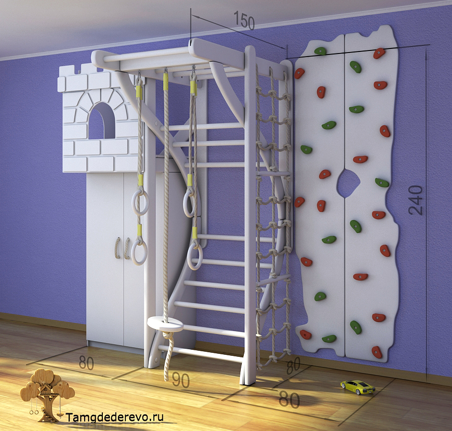 3D model of children's home sports complex. Ladder, climbing wall, Cabinet, Fort, rope ladder, parallel bars, rope.