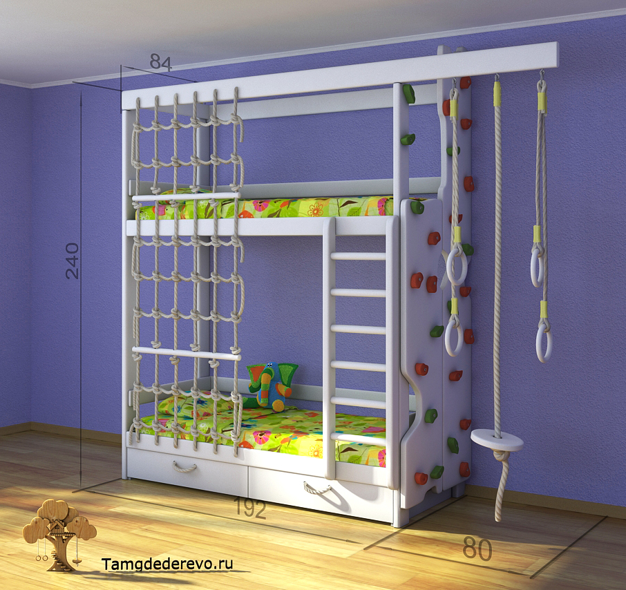 3D model of children's home sports complex. Ladder, a climbing wall, a bed, a rope ladder, parallel bars, rope.