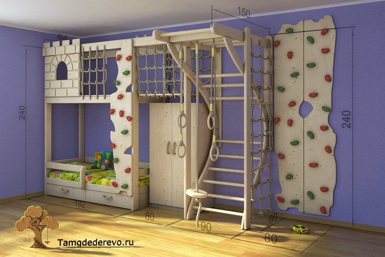 3D model of children's home sports complex. Ladder, a climbing wall, a wardrobe, a bed, a Fort, rope ladder, parallel bars, rope.