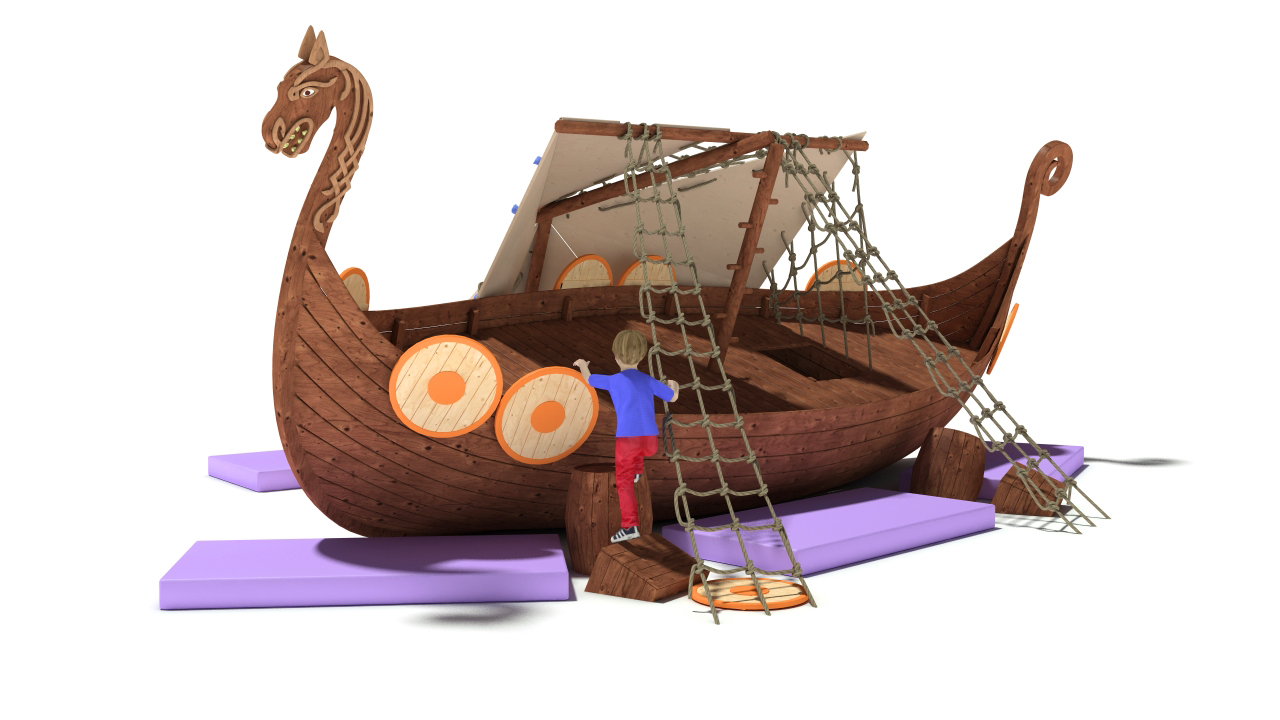 3D model Playground Drakkar. Medieval ship was wrecked, the mast broke in the Board hole. Children use the sail as a climbing wall.