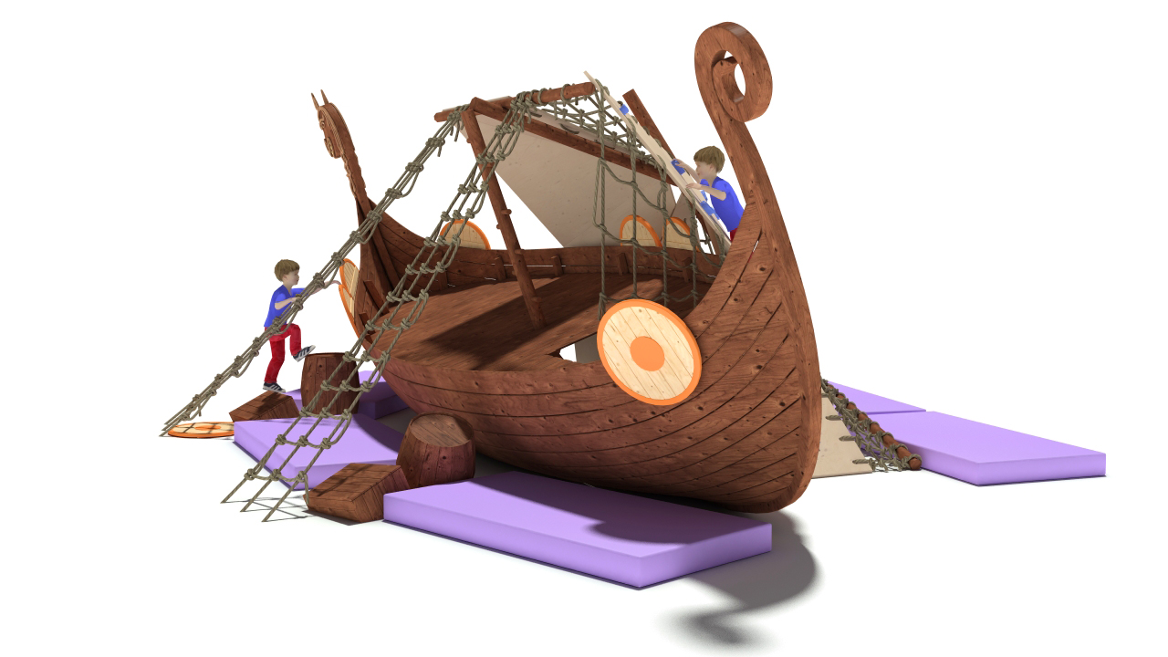 3D model Playground Drakkar Medieval ship was wrecked, the mast broke in the Board hole. Children use the sail as a climbing wall.
