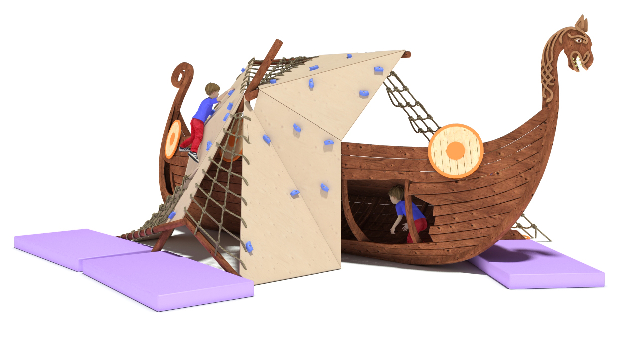 3D model Playground Drakkar Medieval ship was wrecked, the mast broke in the Board hole. Children use the sail as a climbing wall