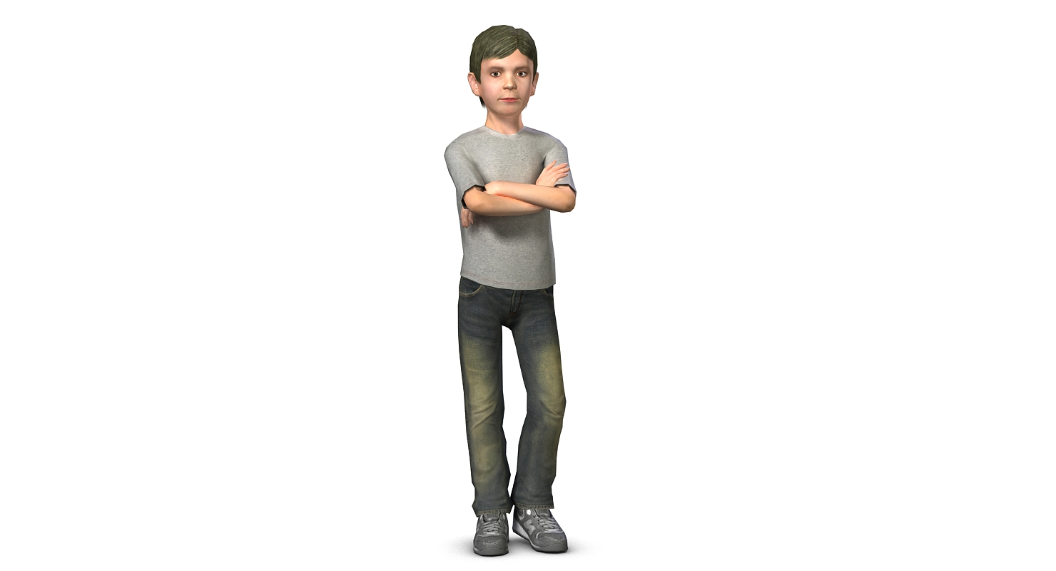 Low poly 3D model teen boy