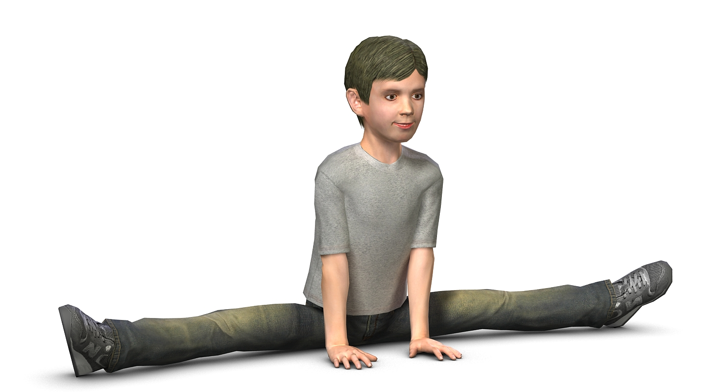 Low poly 3D model of a teenager boy, who sat on the splits