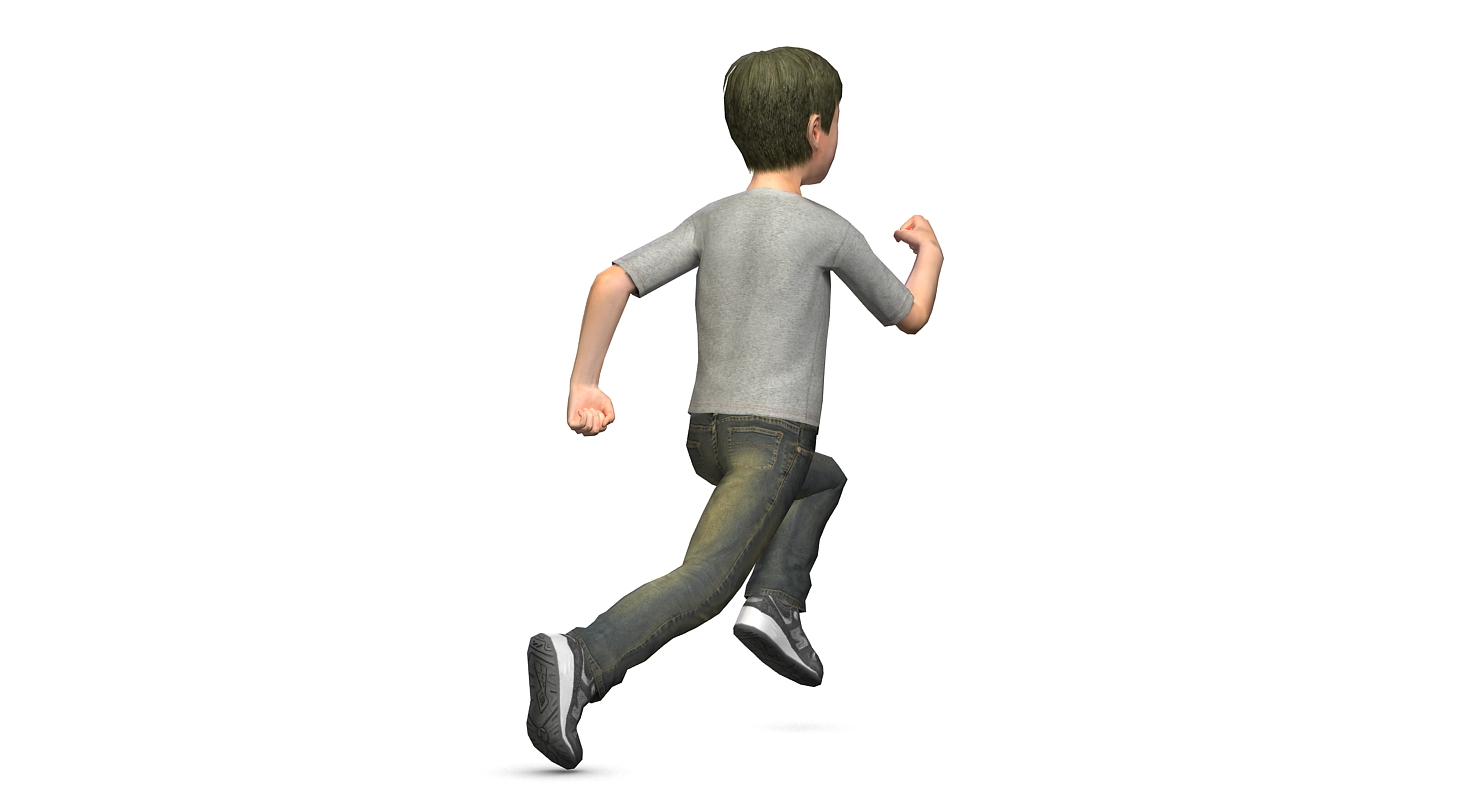 Low poly 3D model of a teenager boy running