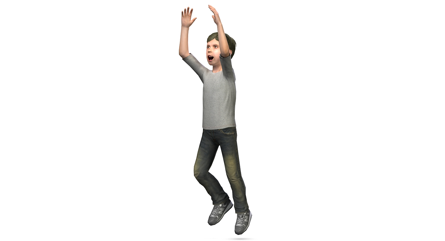 Low poly 3D model jumping teenage boy