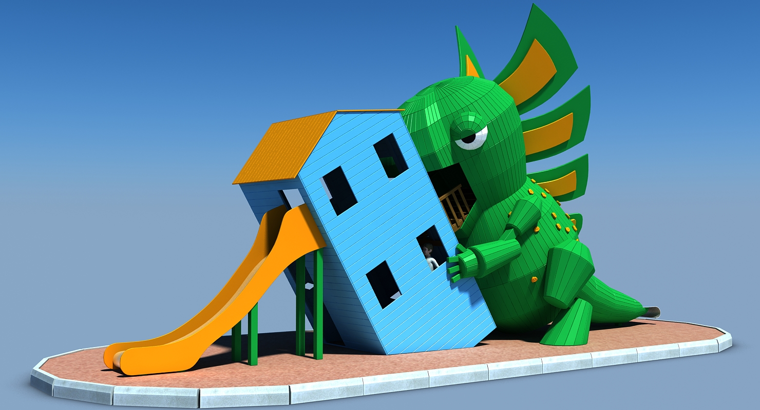 Concept 3D models of children's playgrounds Godzilla