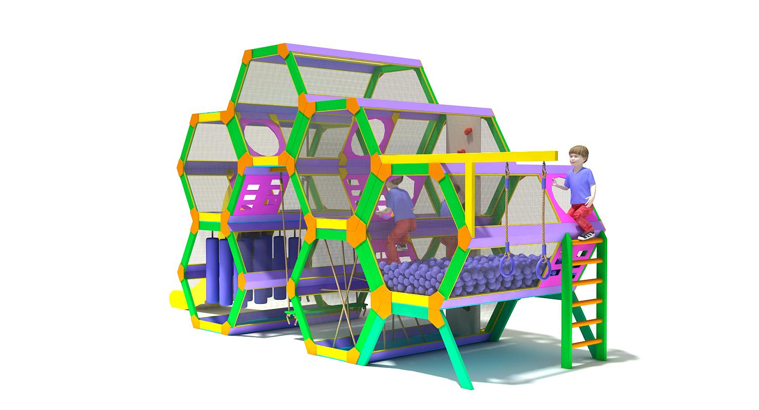 """3D model of the concept of children's Playground Hive. 3D модель концепта детской игровой площадки """"Улей""""."""