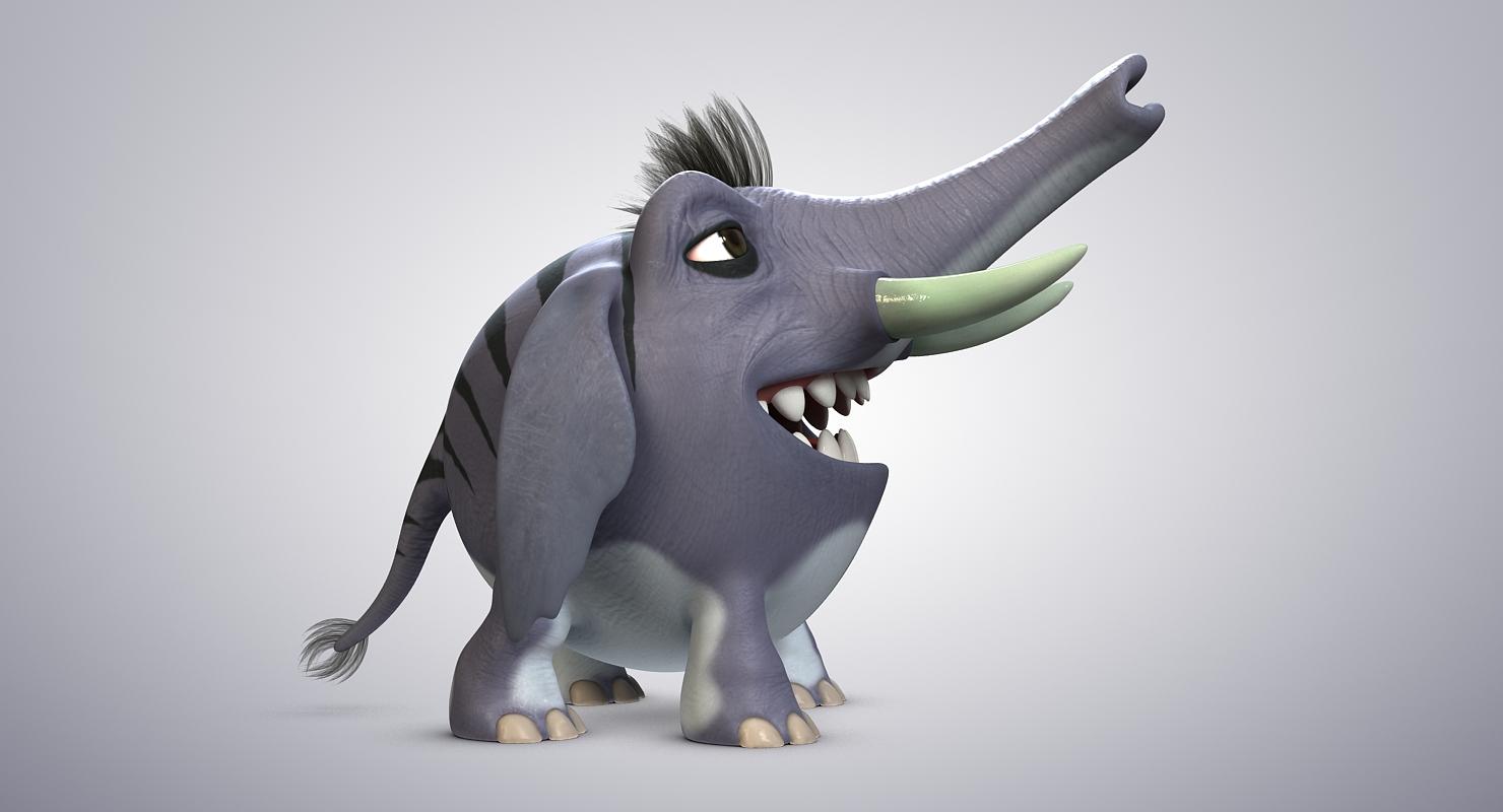 3D model cartoon striped elephant