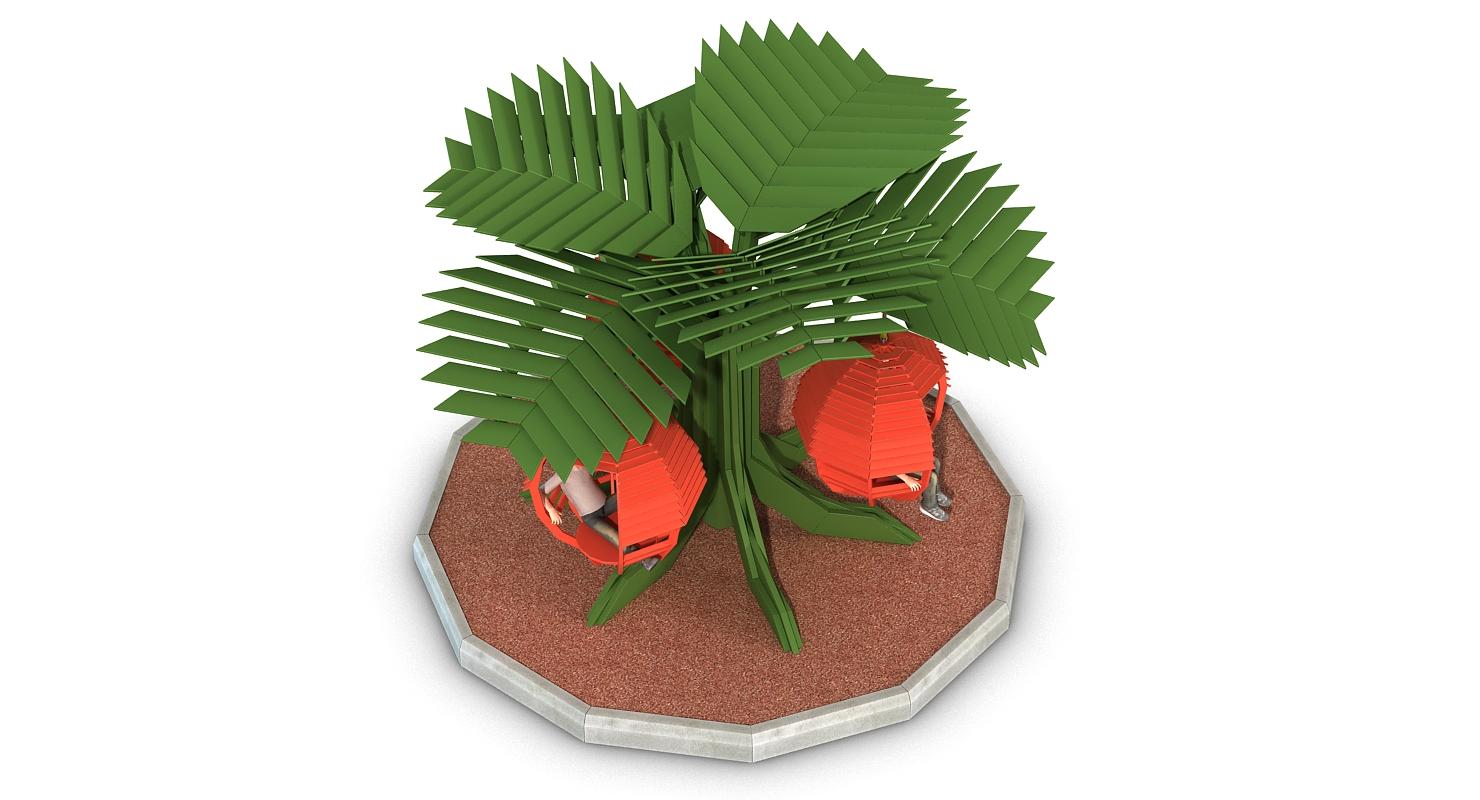 "3D model of the concept of children's Playground Swing Strawberry. 3D модель концепта детской игровой площадки ""Качели Земляника""."